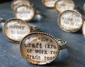Dictionary Word Rings - personalized word, adjustable ring, book page jewelry, gift ideas for her, bridesmaid gift idea, custom friend gift