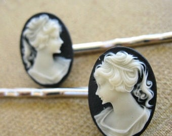 Cameo Bobby Pin Set - Black and White Cameo hair pin