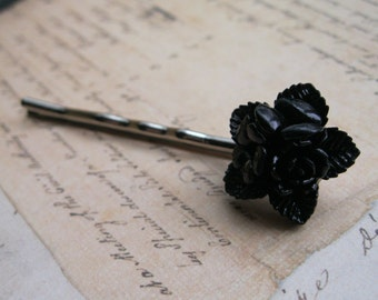 Flower Bobby Pin - Black Star Rose - Flower Hair Accessories