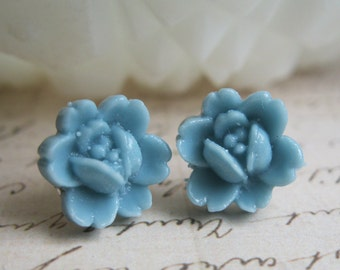 Tiny Stud Earrings, Tiny flower earrings, Small Blue Rose Flower Cabochon Earrings, Baby Blue earrings, Teen Earrings, Small Earrings