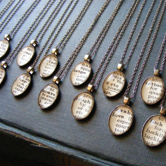 VINTAGE DICTIONARY WORD NECKLACES