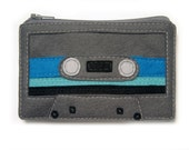 Mix Tape Pouch - Dark Grey with Royal Blue, Teal and Black Stripes