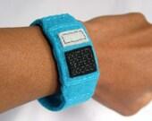 Calculator Watch Cuff Bracelet - Peacock Blue