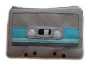 Cassette Tape Wallet  - 80s Retro Phone Gadget Case Pouch - Gray