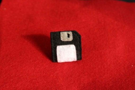Floppy Disk Pin - Black