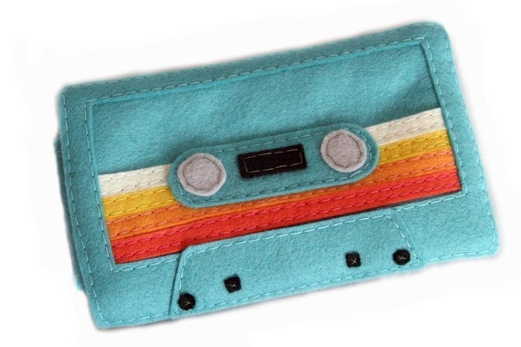 Mix Tape IPhone Ipod Case - Teal with Multi-Colored Stripes