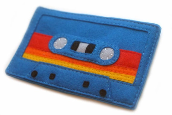 Mix Tape iPhone Sleeve - 80s Retro Cassette Tape Phone Wallet - Royal Blue