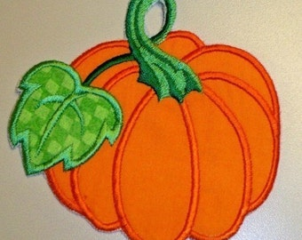 Autumn Thanksgiving solid orange or chevron orange pumpkin applique iron on or sew patch