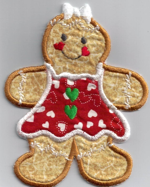 ADORABLE GINGERBREAD GIRL 1 IRON-ON by UniqueEmbroideries4U
