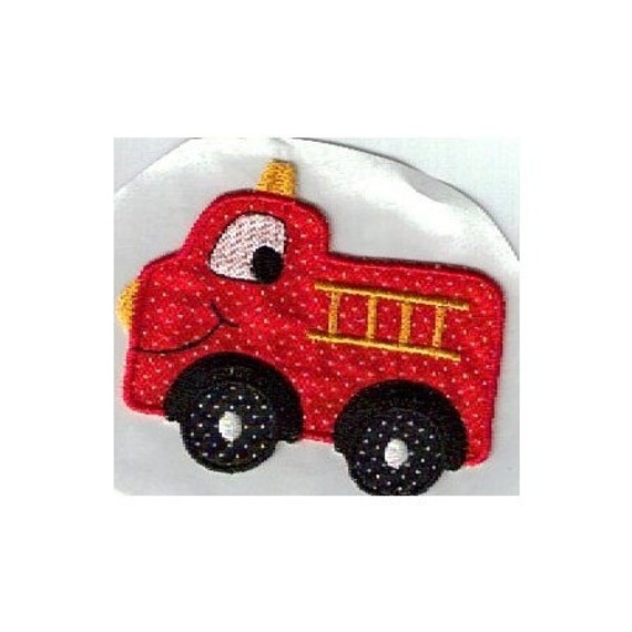 Red fire truck iron on applique patch by UniqueEmbroideries4U