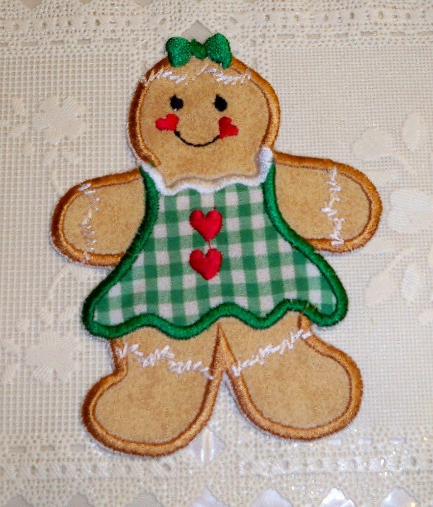 Gingerbread girl iron on applique patch by UniqueEmbroideries4U
