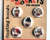 5 Sock Monkey Pins --vintage red heel monkeys-- FLOATING HEADS SET
