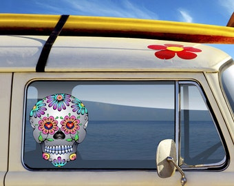 Sugar Skull Car Decal Waterproof, Indoor Outdoor Vinyl Sticker Window Walls Laptop Notebook School Locker Flower Colorful Decoration Decor