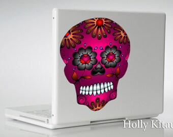 Pink Sugar Skull vinyl indoor outdoor waterproof decal sticker Day of the Dead Zombie pink car window wall laptop MacBook