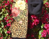 BLACK POLARTEC 300 FLEECE BERET AND LEOPARD SCARF HAT SETS MADE IN MICHIGAN AND SOLD AT THE ANN ARBOR FARMERS MARKET IN HISTORIC KERRYTOWN