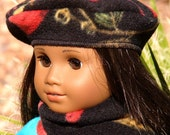 American Girl Cardinal Fleece Beret Hat and Scarf Handmade in Scottsdale Arizona