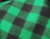 WOOL BY THE YARD  GREEN AND BLACK BUFFALO CHECKS MADE IN WOOLRICH  PA