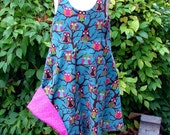 Reversible Corduroy Owl Dress Size 3 Made in Michigan Sold At the Ann Arbor Farmers Mkt