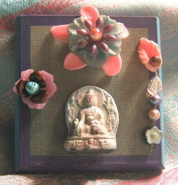 Raku Buddha shrine altar mixed media assemblage vintage flowers and freshwater pearls