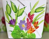 Chinese Take Out or Favor Boxes with Painted Wildflowers
