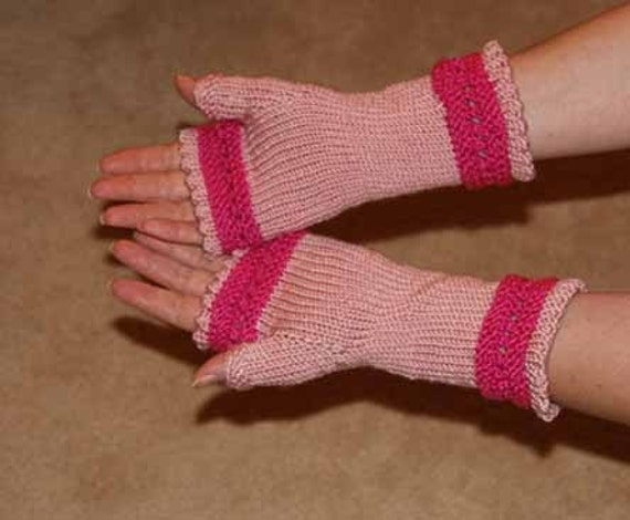 Fingerless Gloves in Two Pinks - Knitted - Made to order
