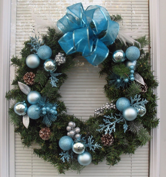 Todays Special Christmas Wreath Blue And Silver On Pine
