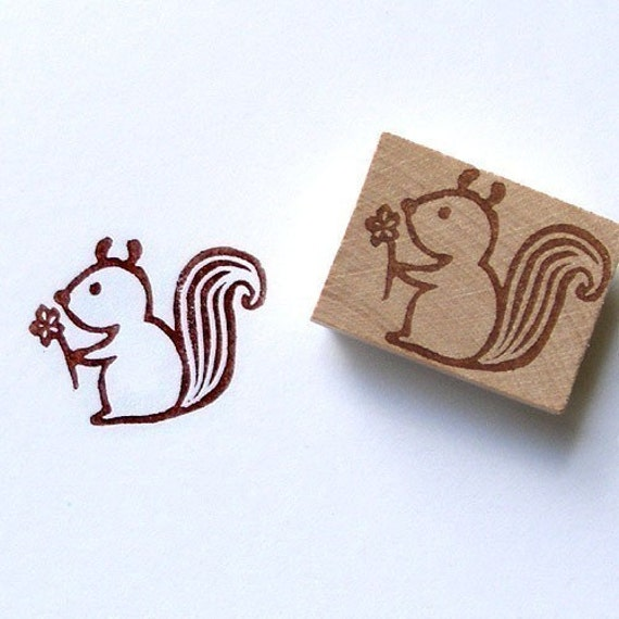 Loving squirrel hand carved rubber stamp