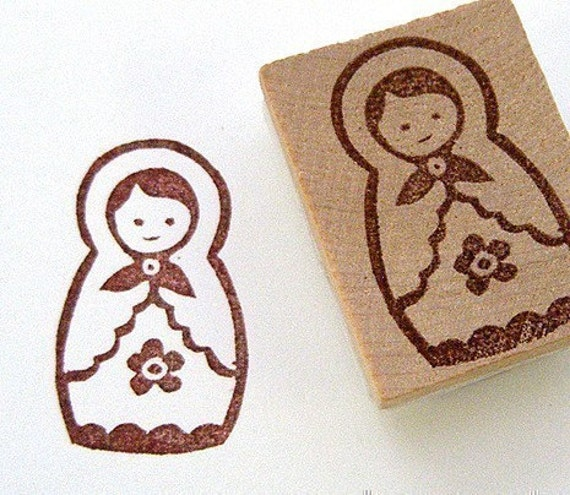 Matryoshka Hand Carved Stamp (russian doll)
