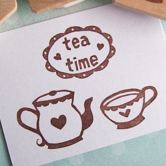 Tea Time set of 3 - rubber stamps