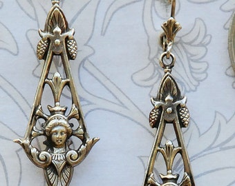 Ornate Neo Classical Etruscan Goddess Women Pendant Earrings in Sterling Silver