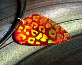 red & gold leopard guitar pick necklace, hot foil stamped