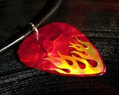 red flame guitar pick necklace, hot foil stamped