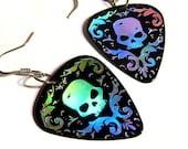 black and silver damask skull guitar pick earrings, hot foil stamped