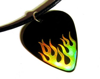 black fire guitar pick necklace, holo gold hot foil stamped