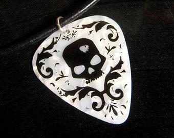 black & white damask skull guitar pick necklace, foil stamped