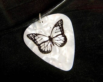 black n' white butterfly guitar pick necklace