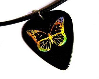 black n' gold butterfly guitar pick necklace