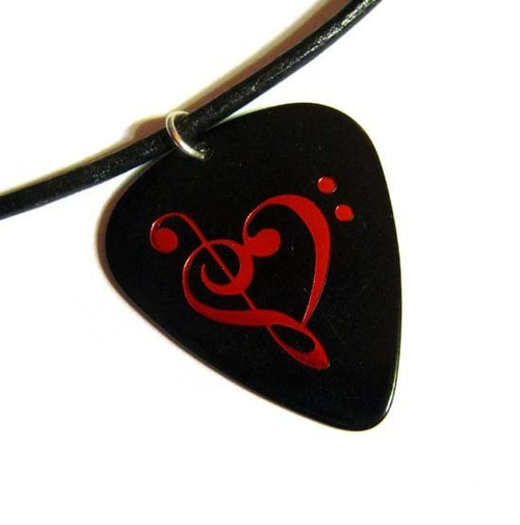 music heart guitar pick necklace, metallic red hot foil stamped