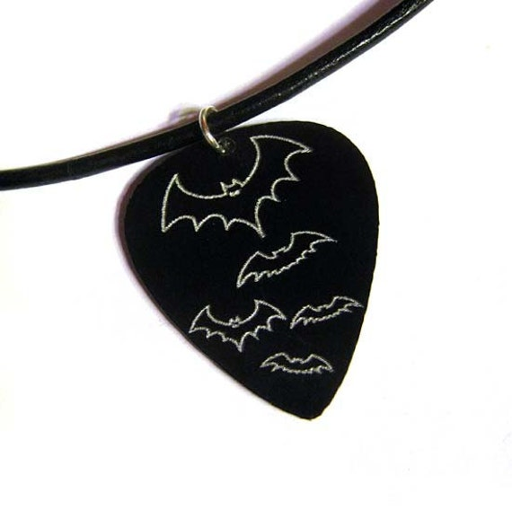 engraved bats guitar pick necklace, black & silver