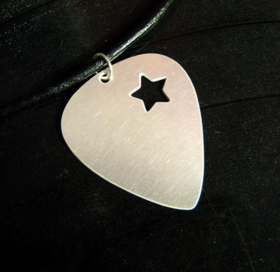 shooting star metal guitar pick necklace on leather cord