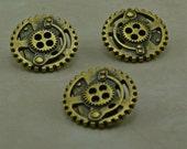 Small Steampunk Gold Brass Metal Gear Buttons - Sprocket Machine Steam Punk - D18