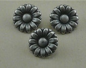 Flower Buttons Small - Morning Flower Daisy Sun Flower Floral - Silver Pewter Colored Metal - A14