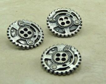 Small Steampunk Antique Silver Gear Buttons - Sprocket Machine - D19