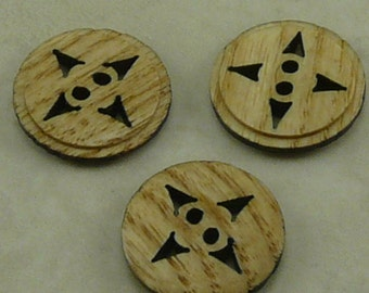 """3/4"""" 4 Points Natural Wood Wooden Button Buttons Wood Wooden   (D 13)"""