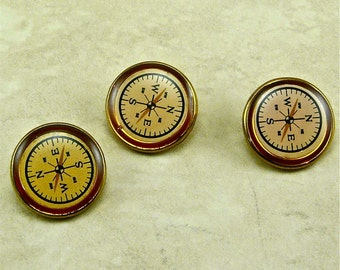 Plastic Compass Steampunk NESW White Black Gold Buttons - A4