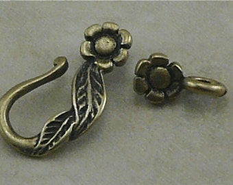Flower and Leaf Antique Brass Jewelry Clasp