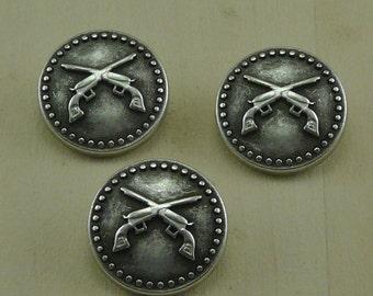 Large Crossed Pistol Gun Military Antique Silver Button Large B32