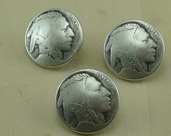 Indian Head Coin Look Dimensional Antique Silver Button   C30