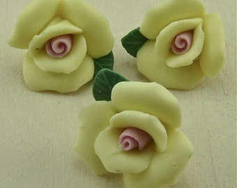 Guns and Roses Steampunk Gothic Ivory China Rose Ceramic Button  F4