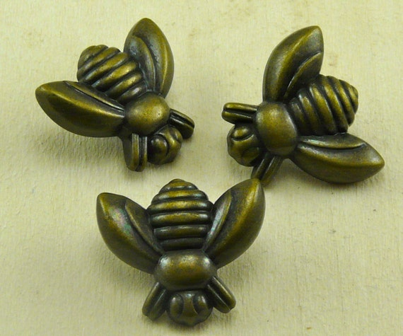 Honey Bee Antique Brass Plastic/Resin Button By Artisticrenderings
